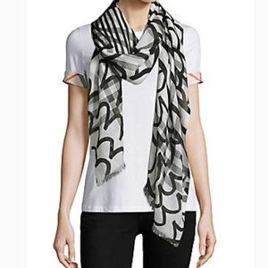 BURBERRY PAINTED PATCHWORK GIANT WOOL/SILK SCARF.
